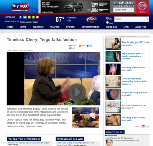 Good Day Tampa Bay, Fox 13 with Cheryl Tiegs & Tampa Bay Fashion Week